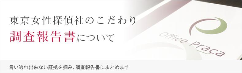 東京女性探偵社のこだわり。調査報告書について。言い逃れ出来ない証拠を掴み、調査報告書にまとめます。